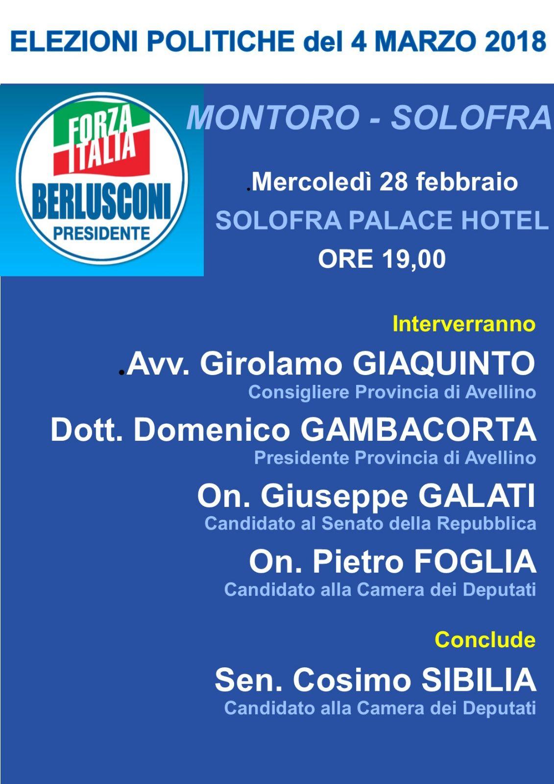 forza italia 28 febbraio a Solofra